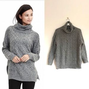 BR Light Heather High Low Cable Turtleneck Sweater
